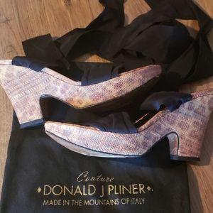Donald j.Pliner leopard wedge ankle wrap shoes
